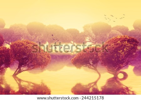 Peaceful beautiful tranquil landscape of oriental, asian Japanese garden with trees.   Artistic, magical enigmatic world screensaver, surreal futuristic nature background, peace of mind concept - stock photo
