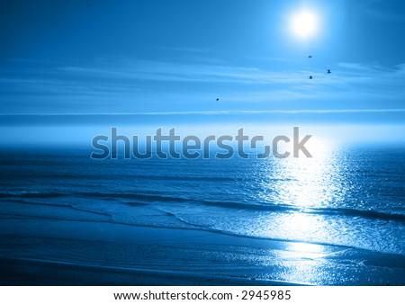 Peaceful Blue Ocean Sunset - stock photo