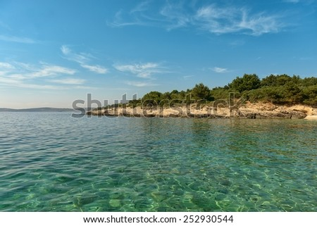 Peaceful calm Coastline with horizon and sky