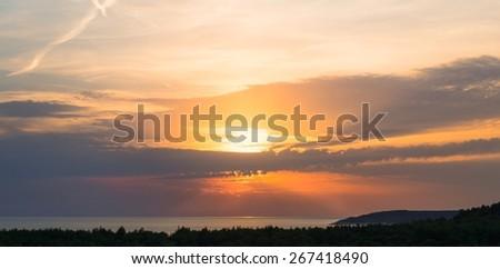 Peaceful calm Coastline with horizon and sky  - stock photo