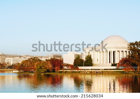Peaceful City Scene, Washington, DC. Landmark Thomas Jefferson Memorial in Fall. View from Tidal Basin, early Autumn evening.  - stock photo