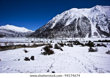 peaceful lake covered by snow in tibet with blue sky and white cloud