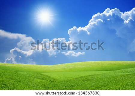Peaceful landscape - green grass field, bright sun, blue sky, white clouds - heaven on earth - stock photo