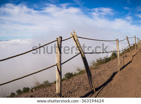 Peaceful landscape with clouds over the city of Naples , from the Vesuvius Crater, active volcano of Naples .  - stock photo