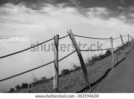 Peaceful landscape with clouds over the city of Naples , from the Vesuvius Crater, active volcano of Naples . Black and white style. - stock photo