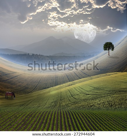 Peaceful Landscape with Mountain - stock photo
