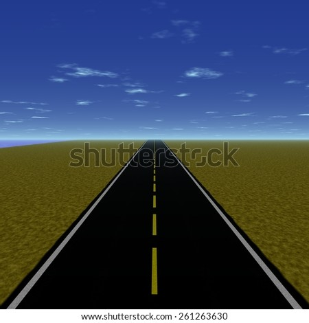 Peaceful road to the horizon of world - stock photo