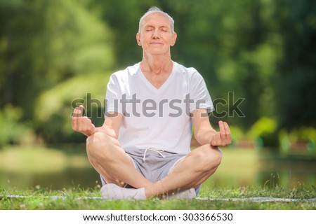 Peaceful senior man meditating seated on a blanket in a park by a lake - stock photo