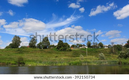 Peaceful summer countryside landscape of Central Russia. Protva river in Kaluga region.