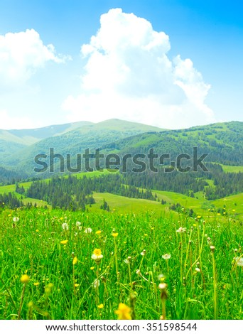 Peaceful summer view, mountain landscape. - stock photo