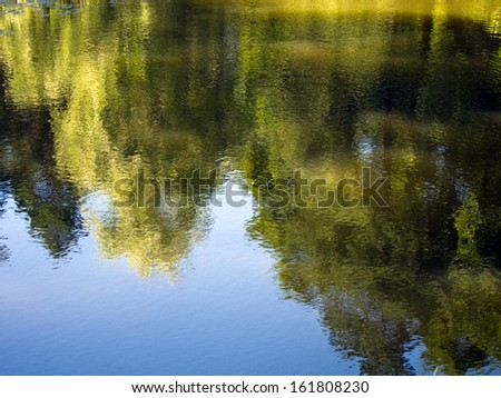 peaceful & tranquil summer reflections in a deep lake  - stock photo
