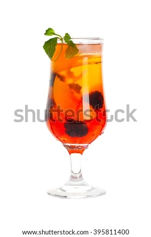Peach and Blackberry Refreshing Summer Drinks isolated on white background. Selective focus. - stock photo