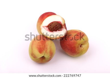 peach and slice isloated on white background