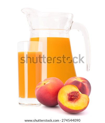Peach fruit juice in glass jug isolated on white background cutout - stock photo