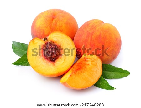 Peach fruits on a white background
