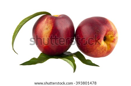 peach is isolated on a white background - stock photo