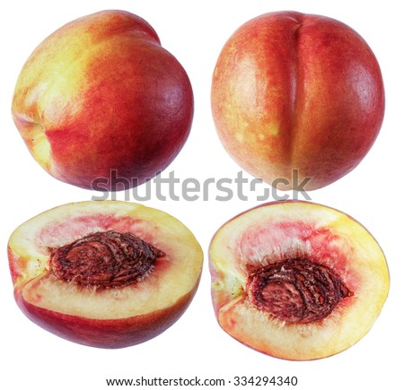 Peach, isolate on a white background, whole fruit, cut fruit in a variety of ways.