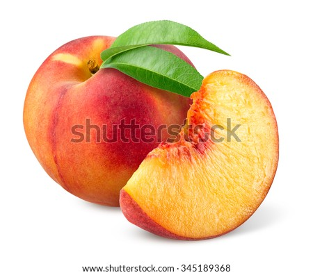 Peach isolated on white. - stock photo
