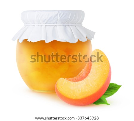 Peach jam in a glass jar isolated on white, with clipping path - stock photo