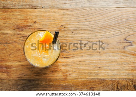 Peach Lemonade on rustic wooden background - stock photo