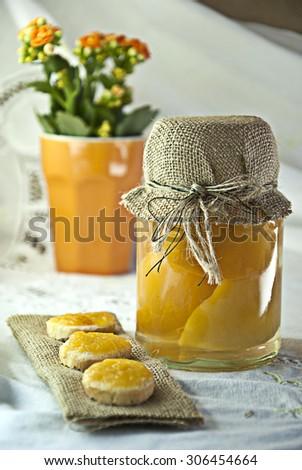 Peach marmalade, jam homemade preserve - stock photo