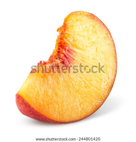 Peach. Slice of fruit isolated on white. - stock photo