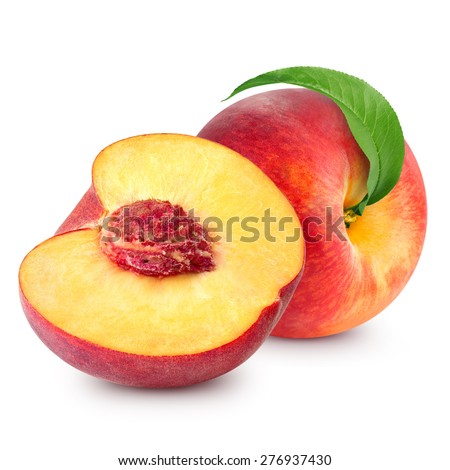 peach with leaf isolated on white background - stock photo