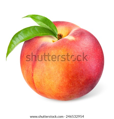 Peach with leaves isolated on white - stock photo