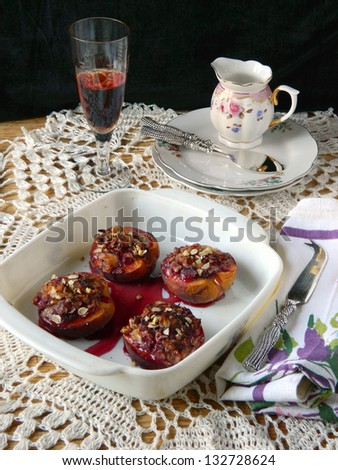 Peaches baked with goat cheese - stock photo