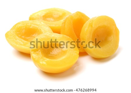 peaches in syrup on a white background