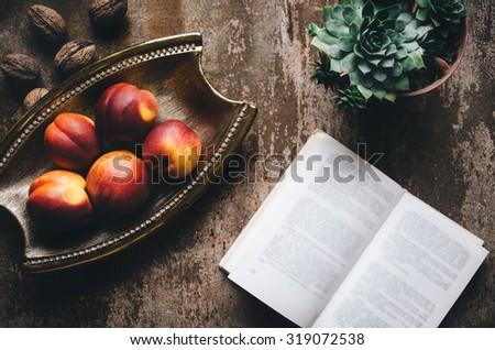 Peaches on the table. Top View - stock photo