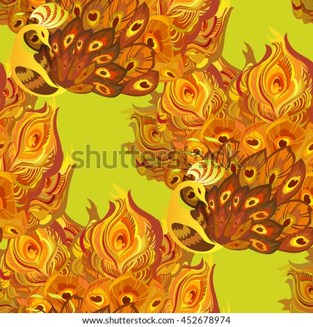Peacock birds with fully fanned tail on yellow background. Phoenix golden orange feathers birds seamless pattern background. illustration - stock photo