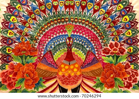 Peacock drawings, Good for Chinese New Year background use. - stock photo