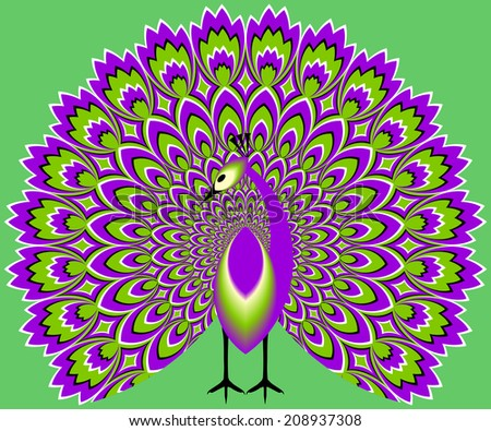 Peacock on a green background (optical expansion illusion)