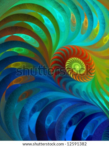Peacock Rainbow Spiral - Fractal Design - stock photo