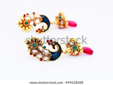 peacock style ear ring set with amazing Indian work