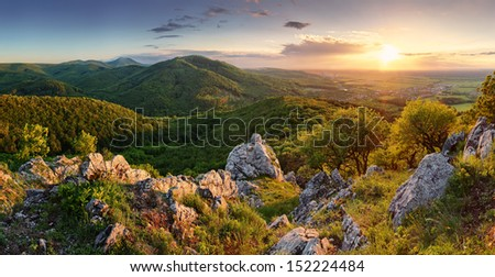 peak in sunset - Slovakia mountain - stock photo