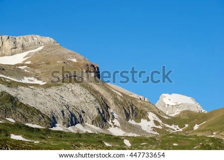 Peak in the Pyrenees, Aragues Valley, Aragon, Huesca, Spain. - stock photo