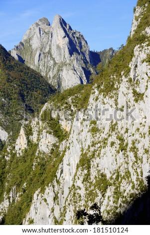 peak in Valley of Aspe, Pyrenees, France - stock photo