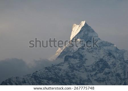 Peak of Fish Tail Mountain Machapuchre - stock photo