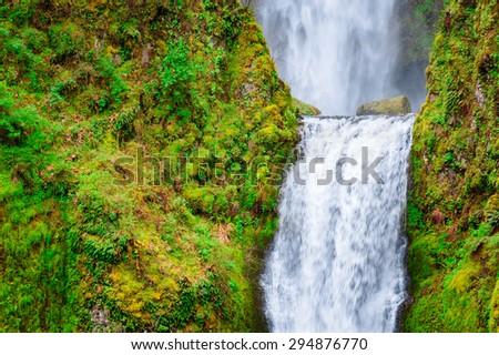 Peak of Lush Waterfall at Columbia, Columbia Gorge - stock photo