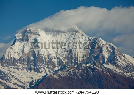 Peak of mount Dhaulagiri in Himalayas mountain NEPAL Great details See full size photo - stock photo