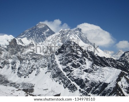 Peak of Mt Everest, view from Gokyo Ri
