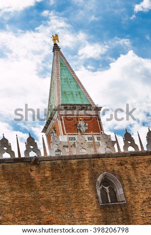 Peak of St Marks Bell Tower, View Behind Historical Facade - Campanile, Venice, Italy