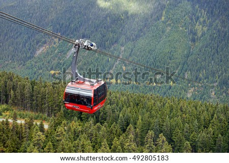PEAK 2 PEAK - October 2, 2016: The longest free span of 3.03 km and highest point of 436 m above the ground - in the world, has lift gondola in Whistler. Gondola is in service since 2008. B.C. Canada
