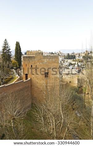 Peak Tower (torre de los picos) from Mihrab, in the Alhambra complex. Granada, Spain - stock photo
