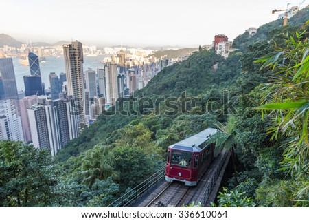 Peak Tram in Hong Kong - stock photo