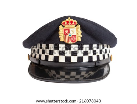 Peaked cap of the Spanish policeman on a white background - stock photo