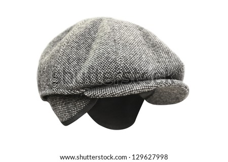 peaked cap under the white background