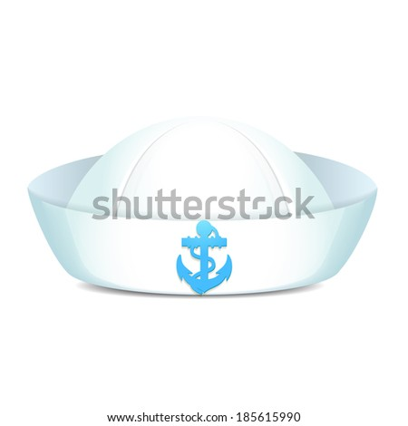 Peaked sailor hat with blue anchor on white background isolated  illustration - stock photo